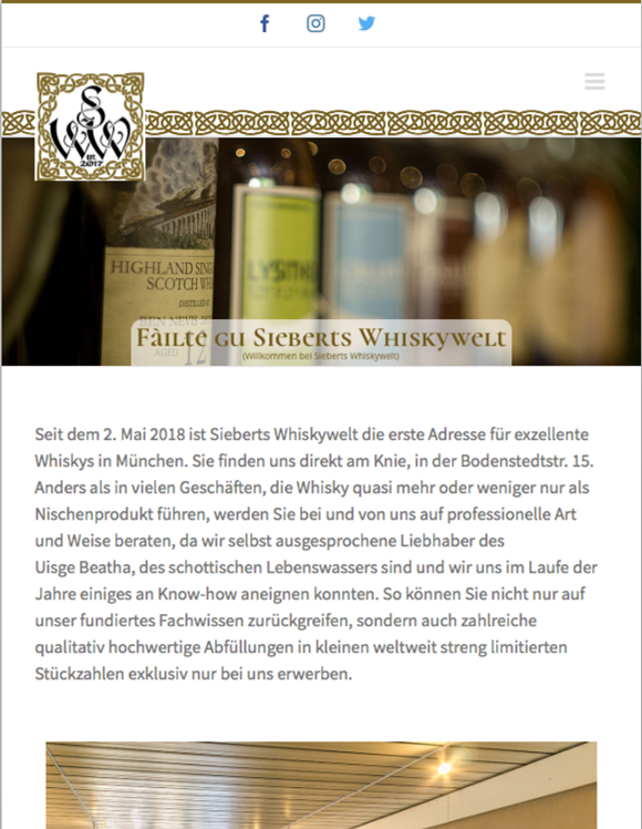 Sieberts Whiskywelt Gestaltet Von Cyberdog Designs Tablet Version